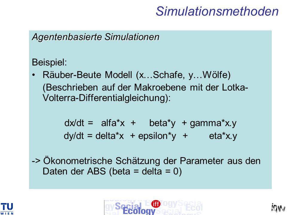 Agentenbasierte Simulationen Beispiel: Räuber-Beute Modell (x…Schafe, y…Wölfe) (Beschrieben auf der Makroebene mit der Lotka- Volterra-Differentialgle