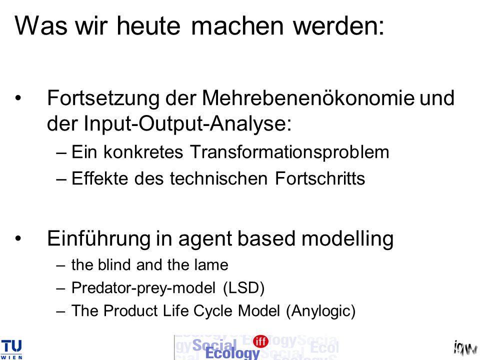 Was wir heute machen werden: Fortsetzung der Mehrebenenökonomie und der Input-Output-Analyse: –Ein konkretes Transformationsproblem –Effekte des techn