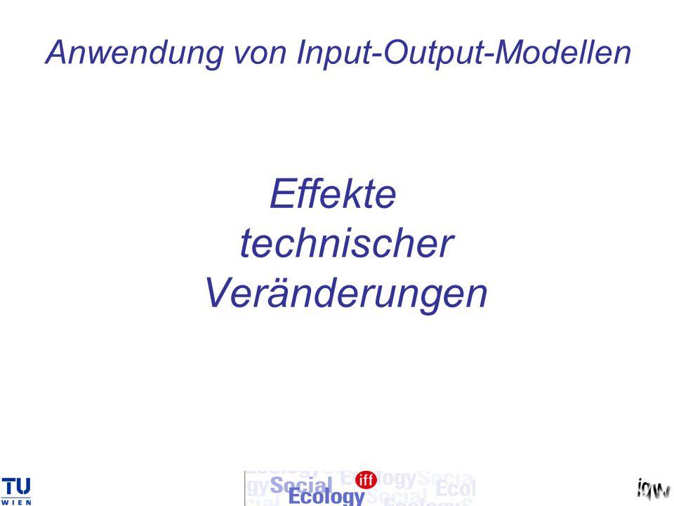Input-Output-Grundformel: x = (E-A) -1 y Lösung in erster Näherung x = (E-A) -1 ( Ax + y) Veränderungen der A-Matrix...… A und/oder veränderungen der Nachfrage … y -> Veränderungen im Output ……… x -> Veränderungen der Beschäftigtenzahlen -> Veränderungen der Lohnsumme -> Veränderungen der Nachfrage ………….