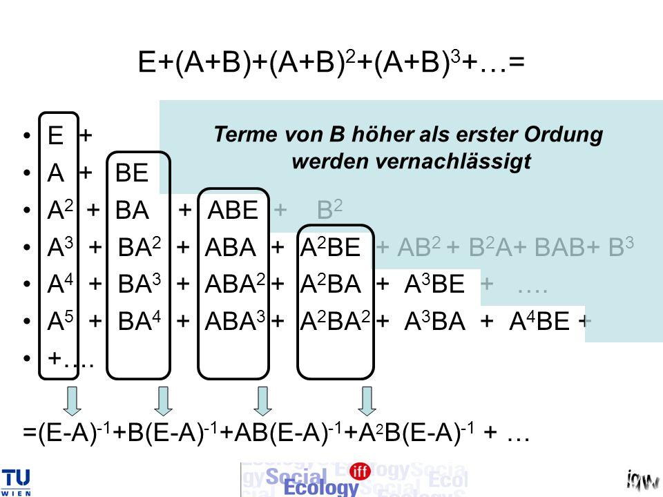 (E-A) -1 +B(E-A) -1 +AB(E-A) -1 +A 2 B(E-A) -1 +…= = (E + B + AB + A 2 B + A 3 B +…) (E-A) -1 = = [E + (E + A + A 2 + A 3 +…….)B] (E-A) -1 = = [E + (E-A) -1 B] (E-A) -1 Rücksubstitution: A anstelle von B ergibt [E-(A+ A)] -1 = (E-A 1 ) -1 ~ [E + (E-A) -1 A](E-A) -1 Zu zeigen war, dass aus x 1 = (E-A 1 ) -1 y 1 in erster Näherung x = (E-A) -1 ( Ax + y) folgt.