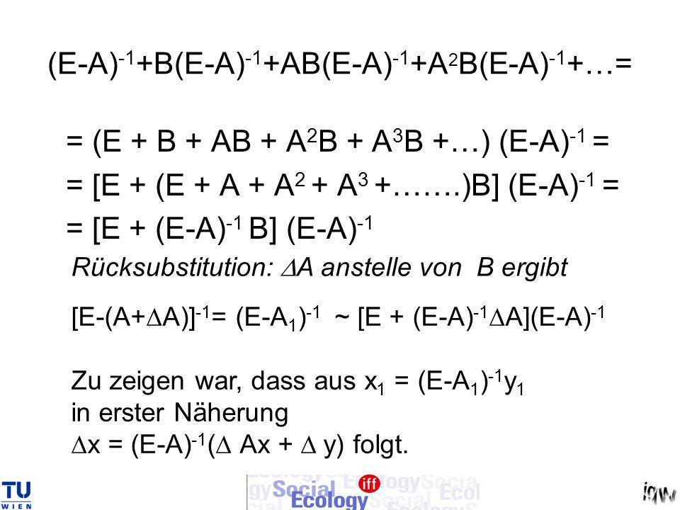 x 1 = x 0 + x = [E-(A 0 + A)] - 1 (y 0 + y) = = [E + (E-A 0 ) -1 A] (E-A 0 ) -1 (y 0 + y) = = x 0 + (E-A 0 ) -1 A x 0 + (E-A 0 ) -1 y + (E-A 0 ) -1 A (E-A 0 ) -1 y => x = (E-A 0 ) -1 ( A x 0 + y) q.e.d.
