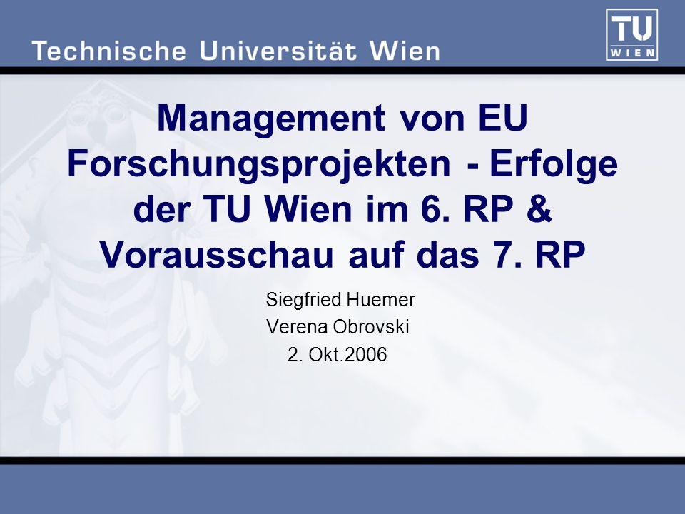 Management von EU Forschungsprojekten - Erfolge der TU Wien im 6. RP & Vorausschau auf das 7. RP Siegfried Huemer Verena Obrovski 2. Okt.2006