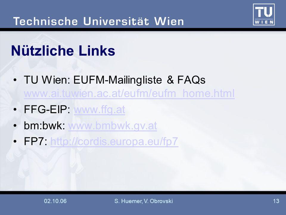 02.10.06S. Huemer, V. Obrovski13 Nützliche Links TU Wien: EUFM-Mailingliste & FAQs www.ai.tuwien.ac.at/eufm/eufm_home.html www.ai.tuwien.ac.at/eufm/eu