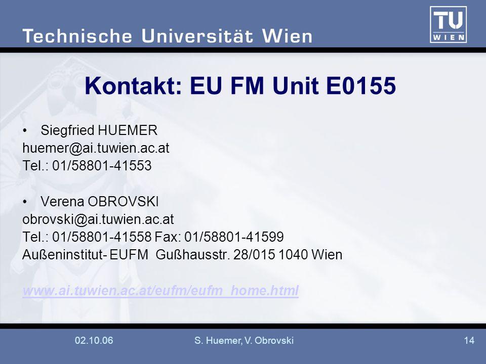 02.10.06S. Huemer, V. Obrovski14 Kontakt: EU FM Unit E0155 Siegfried HUEMER huemer@ai.tuwien.ac.at Tel.: 01/58801-41553 Verena OBROVSKI obrovski@ai.tu
