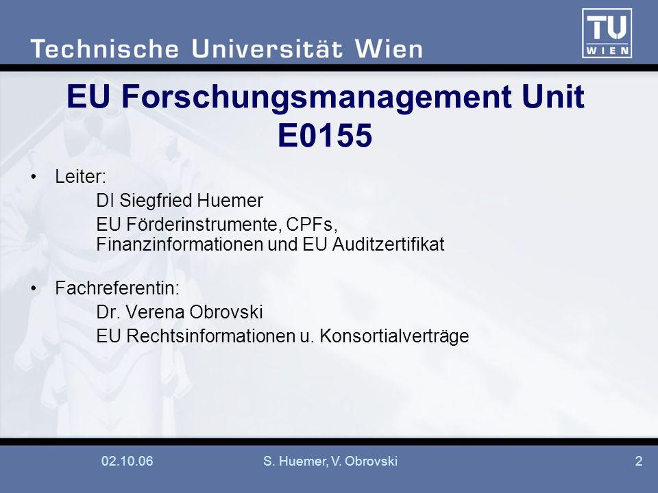 02.10.06S. Huemer, V. Obrovski2 EU Forschungsmanagement Unit E0155 Leiter: DI Siegfried Huemer EU Förderinstrumente, CPFs, Finanzinformationen und EU