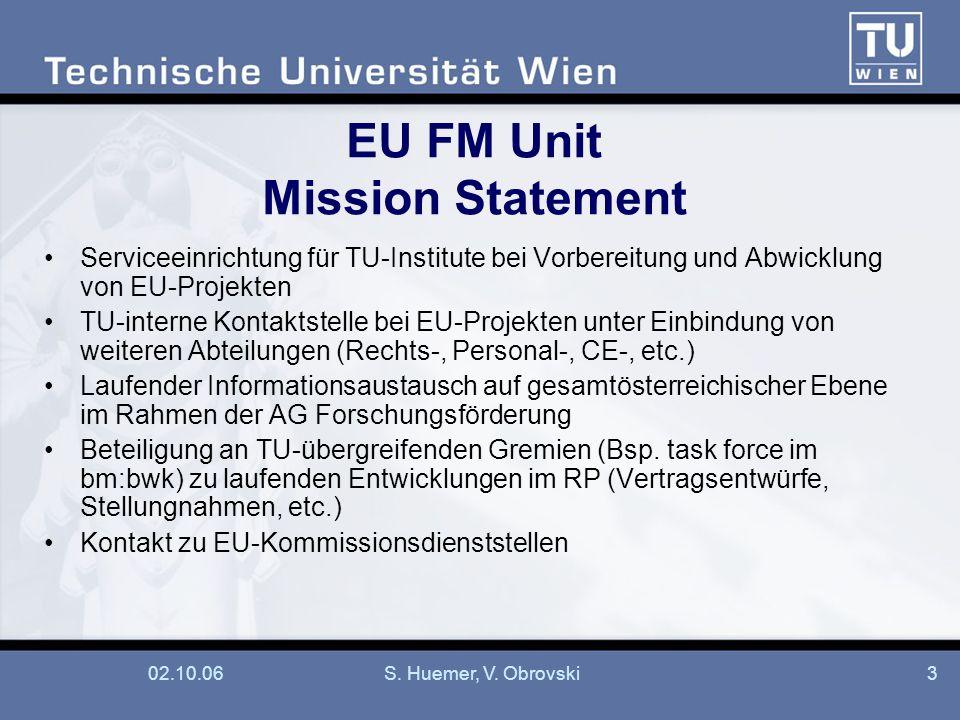 02.10.06S. Huemer, V. Obrovski3 EU FM Unit Mission Statement Serviceeinrichtung für TU-Institute bei Vorbereitung und Abwicklung von EU-Projekten TU-i
