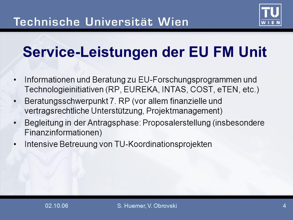 02.10.06S. Huemer, V. Obrovski4 Service-Leistungen der EU FM Unit Informationen und Beratung zu EU-Forschungsprogrammen und Technologieinitiativen (RP