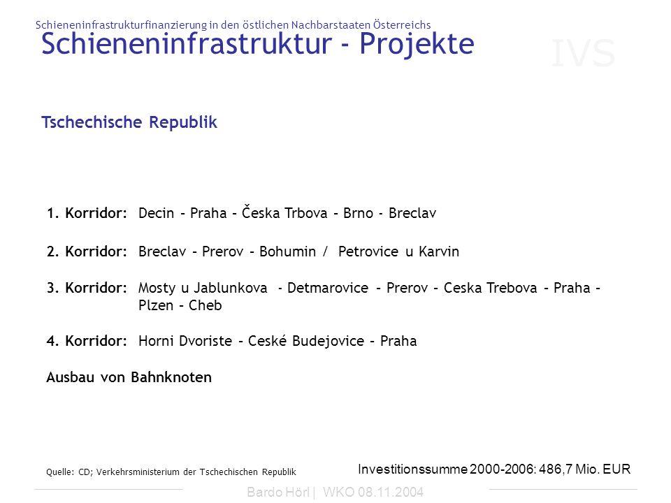IVS Schieneninfrastrukturfinanzierung in den östlichen Nachbarstaaten Österreichs Bardo Hörl | WKO 08.11.2004 Schieneninfrastruktur - Projekte 1. Korr