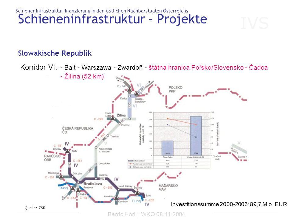 IVS Schieneninfrastrukturfinanzierung in den östlichen Nachbarstaaten Österreichs Bardo Hörl | WKO 08.11.2004 Schieneninfrastruktur - Projekte Slowaki