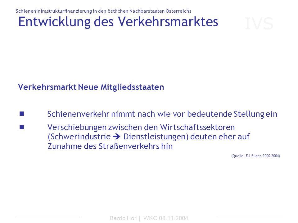 IVS Schieneninfrastrukturfinanzierung in den östlichen Nachbarstaaten Österreichs Bardo Hörl | WKO 08.11.2004 Entwicklung des Verkehrsmarktes Verkehrs
