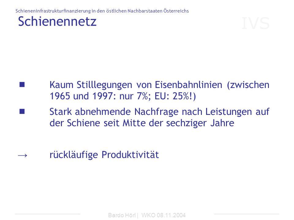 IVS Schieneninfrastrukturfinanzierung in den östlichen Nachbarstaaten Österreichs Bardo Hörl | WKO 08.11.2004 Schienennetz Kaum Stilllegungen von Eise