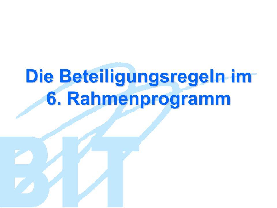 Die Beteiligungsregeln im 6. Rahmenprogramm