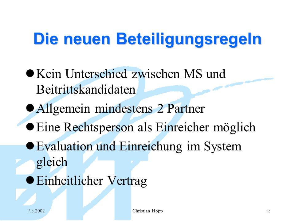 7.5.2002Christian Hopp 3 Die neuen Beteiligungsregeln Totale Flexibilität (Gesamtschuldnerische Haftung) Flexible Finanzgebarung Aufnahme von neuen Partnern möglich Zusätzlicher fin.