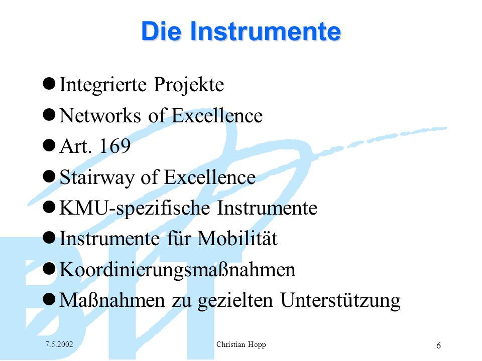 7.5.2002Christian Hopp 7 Die neuen Instrumente Integrated Projects Zielgerichtet Langfristig (3-5 Jahre) Risikoreich Erreichung einer kritischen Masse Strukturierung Integration (Sektoral, finanziell etc.