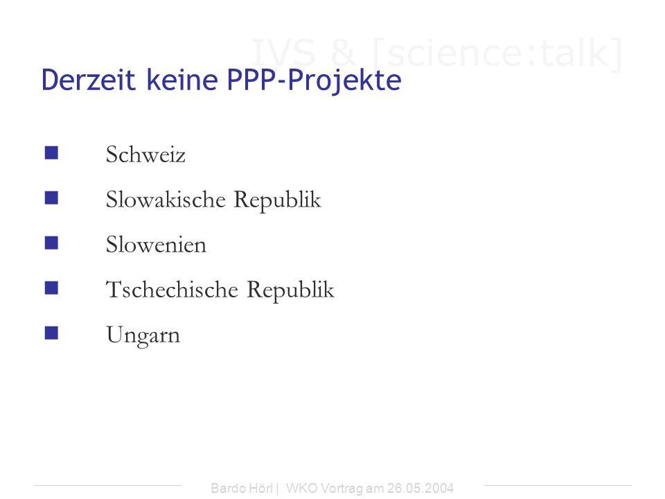 IVS & [science:talk] Bardo Hörl | WKO Vortrag am 26.05.2004 Vorgesehene Projekte Tschechische Republik Straße Schnellstraße R 35 (Olomouc – Mohelnice) (geplanter Baubeginn: 2005; Investitionssumme: 16 Mio.