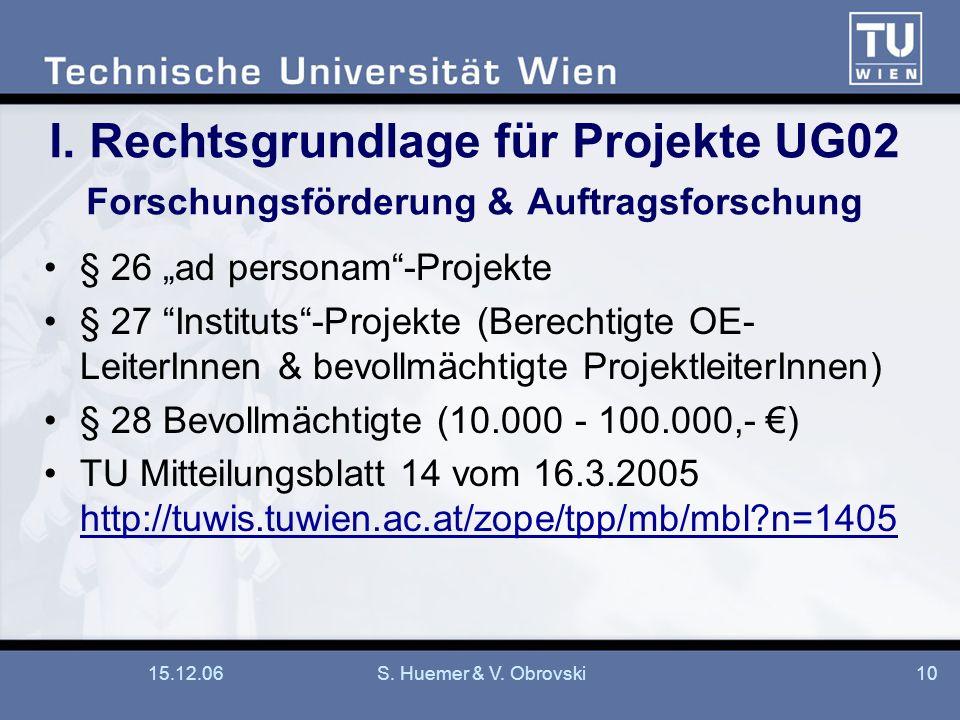 15.12.06S. Huemer & V. Obrovski10 I. Rechtsgrundlage für Projekte UG02 Forschungsförderung & Auftragsforschung § 26 ad personam-Projekte § 27 Institut