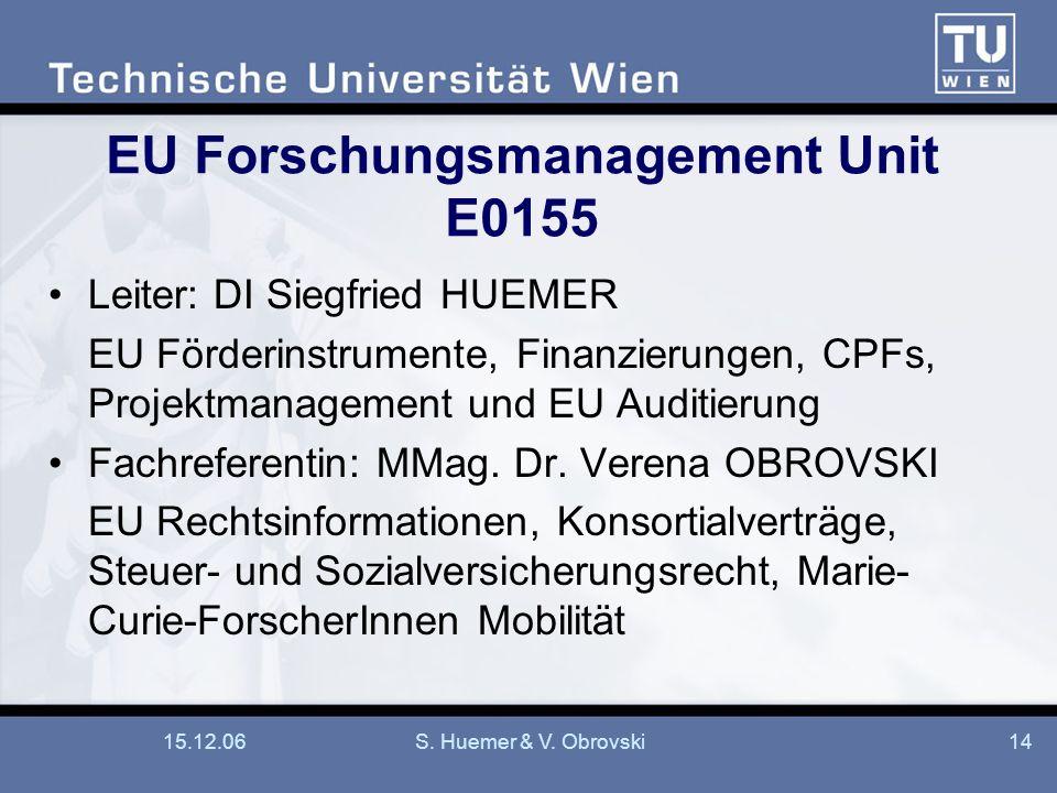 15.12.06S. Huemer & V. Obrovski14 EU Forschungsmanagement Unit E0155 Leiter: DI Siegfried HUEMER EU Förderinstrumente, Finanzierungen, CPFs, Projektma