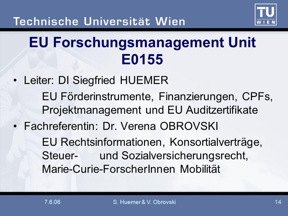 7.6.06S. Huemer & V. Obrovski14 EU Forschungsmanagement Unit E0155 Leiter: DI Siegfried HUEMER EU Förderinstrumente, Finanzierungen, CPFs, Projektmana
