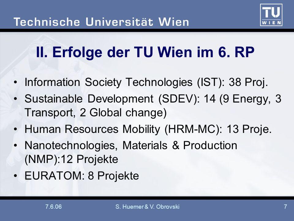 7.6.06S. Huemer & V. Obrovski7 II. Erfolge der TU Wien im 6. RP Information Society Technologies (IST): 38 Proj. Sustainable Development (SDEV): 14 (9