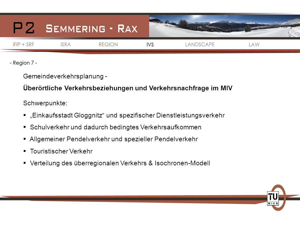 Gemeindeverkehrsplanung - Überörtliche Verkehrsbeziehungen und Verkehrsnachfrage im MIV Schwerpunkte: Einkaufsstadt Gloggnitz und spezifischer Dienstl