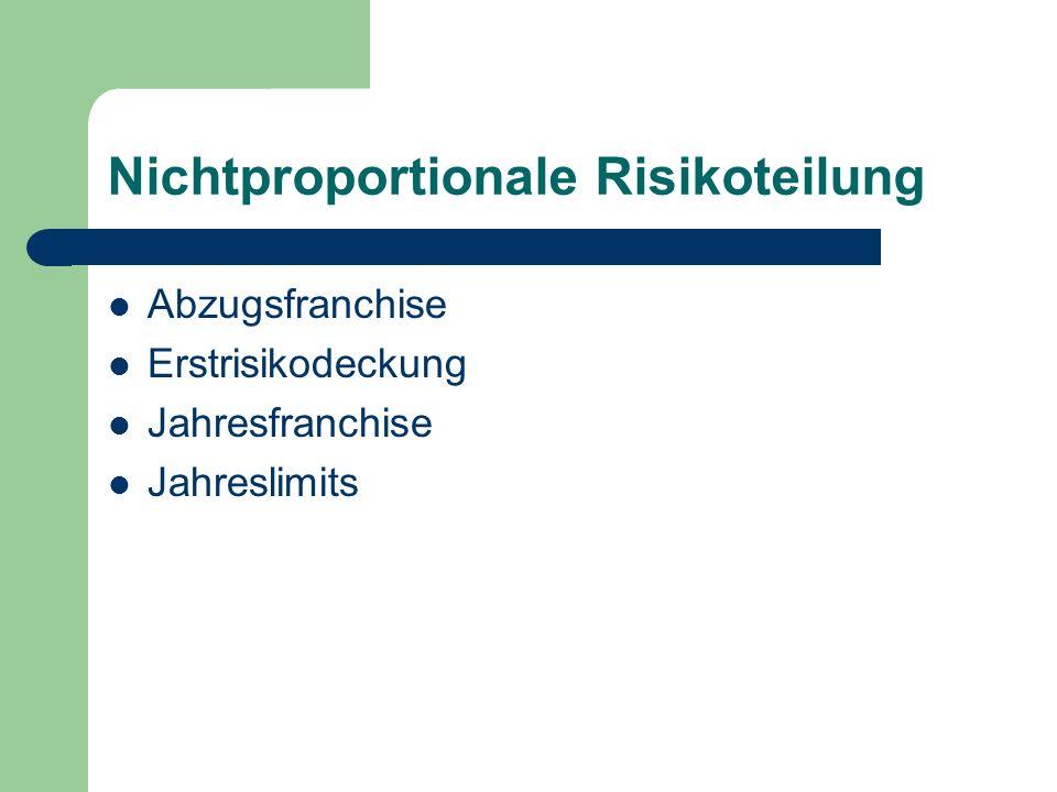 Nichtproportionale Risikoteilung Abzugsfranchise Erstrisikodeckung Jahresfranchise Jahreslimits