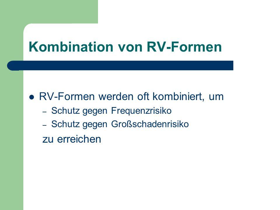 Kombination von RV-Formen RV-Formen werden oft kombiniert, um – Schutz gegen Frequenzrisiko – Schutz gegen Großschadenrisiko zu erreichen