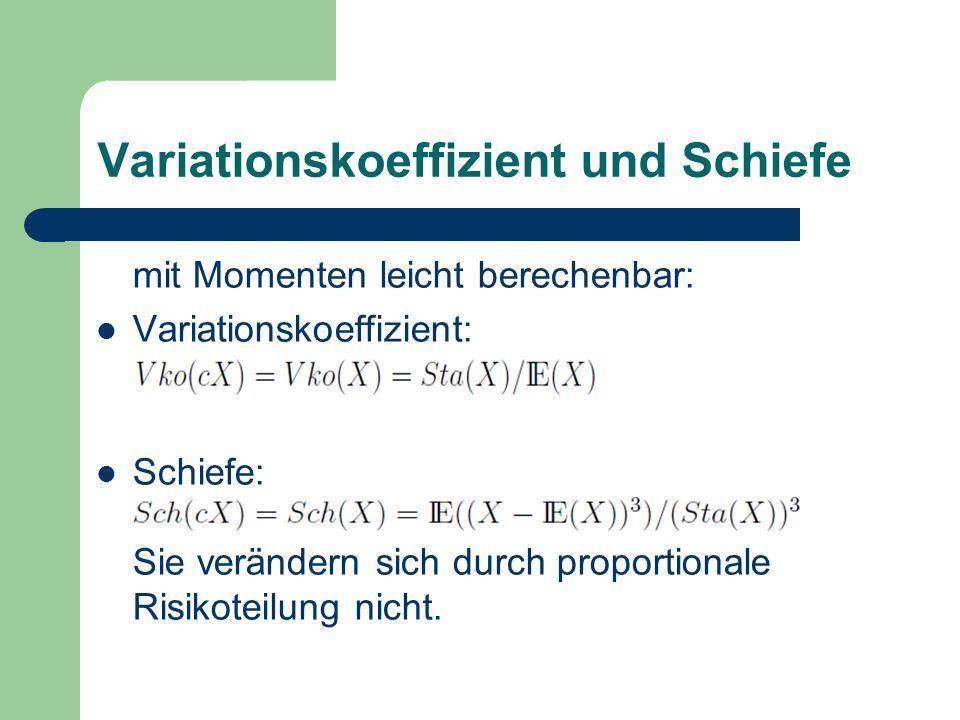 Variationskoeffizient und Schiefe mit Momenten leicht berechenbar: Variationskoeffizient: Schiefe: Sie verändern sich durch proportionale Risikoteilun