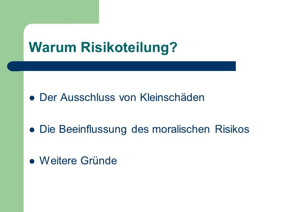 Warum Risikoteilung? Der Ausschluss von Kleinschäden Die Beeinflussung des moralischen Risikos Weitere Gründe