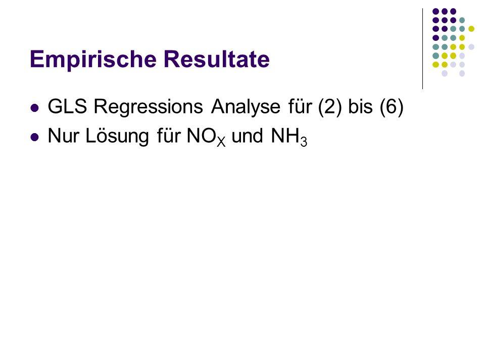 Empirische Resultate GLS Regressions Analyse für (2) bis (6) Nur Lösung für NO X und NH 3