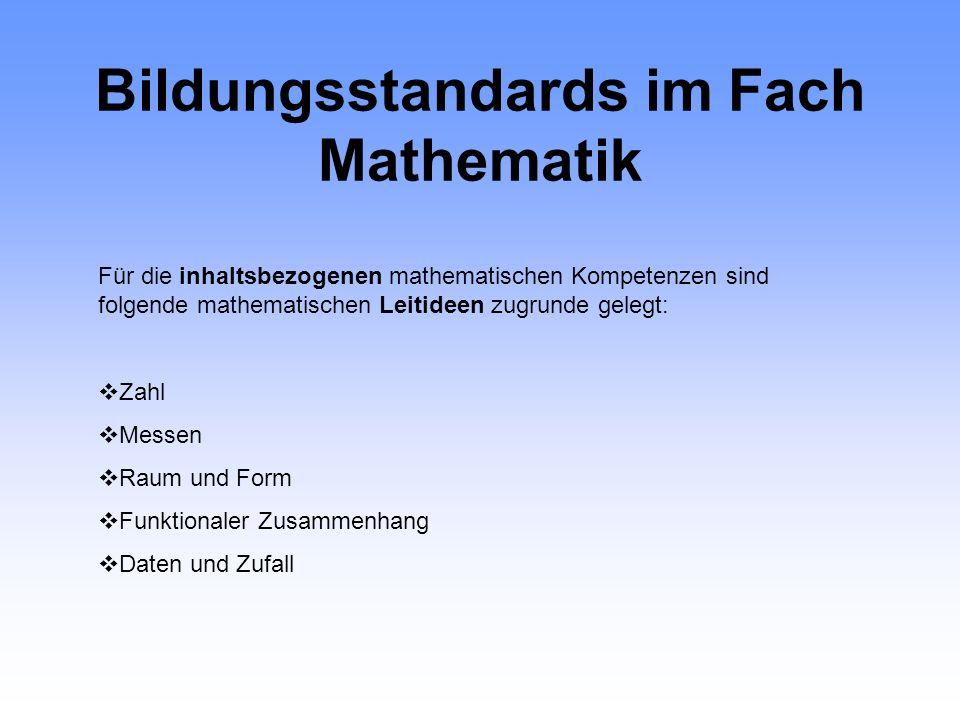 Bildungsstandards im Fach Mathematik Kompetenzen:Allgemeine fachliche Ziele des Lehrplanes Mathematisch Argumentieren- Kritischer Vernunftgebrauch Pro