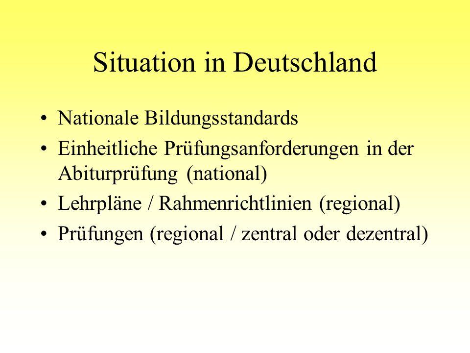 Situation in Deutschland Nationale Bildungsstandards Einheitliche Prüfungsanforderungen in der Abiturprüfung (national) Lehrpläne / Rahmenrichtlinien (regional) Prüfungen (regional / zentral oder dezentral)