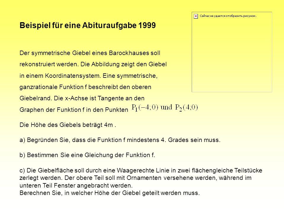 Beispiel für eine Aufgabe aus einem Zentralabitur 1994 Gegeben ist eine Funktion f mit der Gleichung. Führen Sie für die Funktion f eine Kurvendiskuss