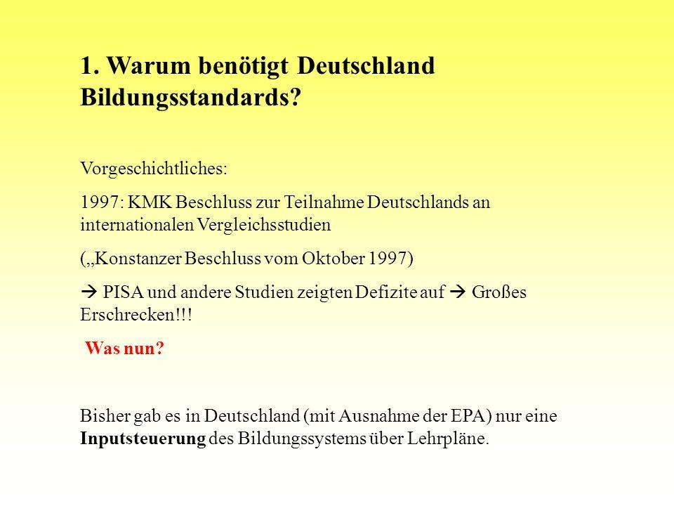 Situation in Deutschland Nationale Bildungsstandards Einheitliche Prüfungsanforderungen in der Abiturprüfung (national) Lehrpläne / Rahmenrichtlinien