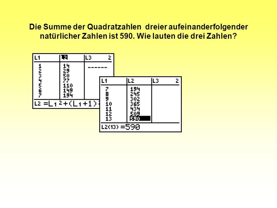 Die Summe der Quadratzahlen dreier aufeinanderfolgender natürlicher Zahlen ist 590. Wie lauten die drei Zahlen?