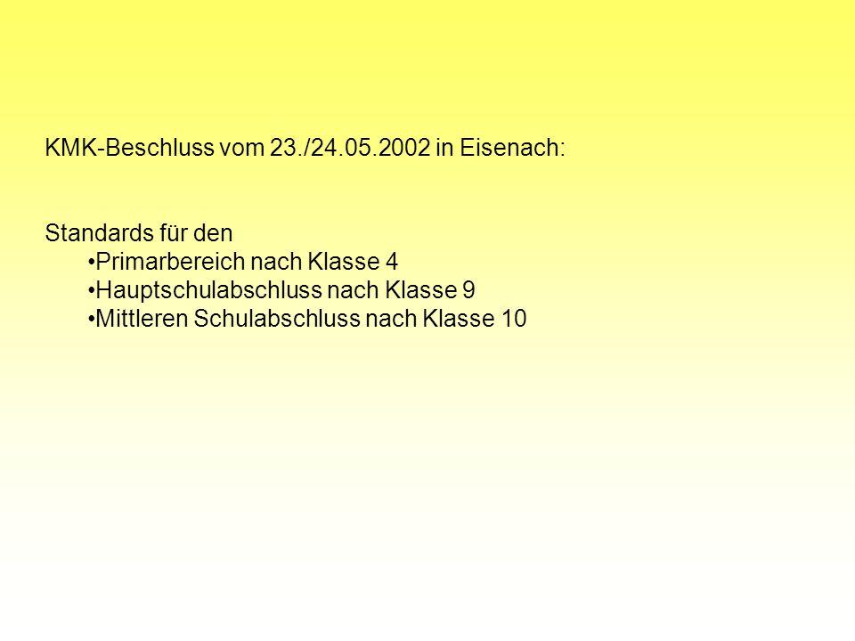 KMK-Beschluss vom 23./24.05.2002 in Eisenach: Standards für den Primarbereich nach Klasse 4 Hauptschulabschluss nach Klasse 9 Mittleren Schulabschluss nach Klasse 10