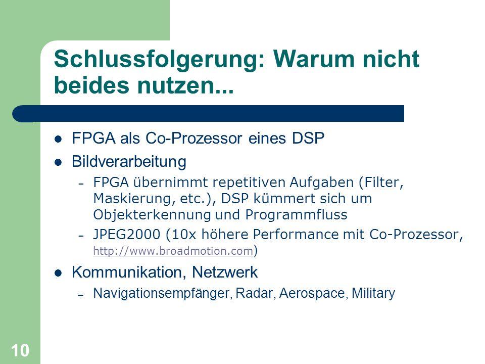 10 Schlussfolgerung: Warum nicht beides nutzen... FPGA als Co-Prozessor eines DSP Bildverarbeitung – FPGA übernimmt repetitiven Aufgaben (Filter, Mask