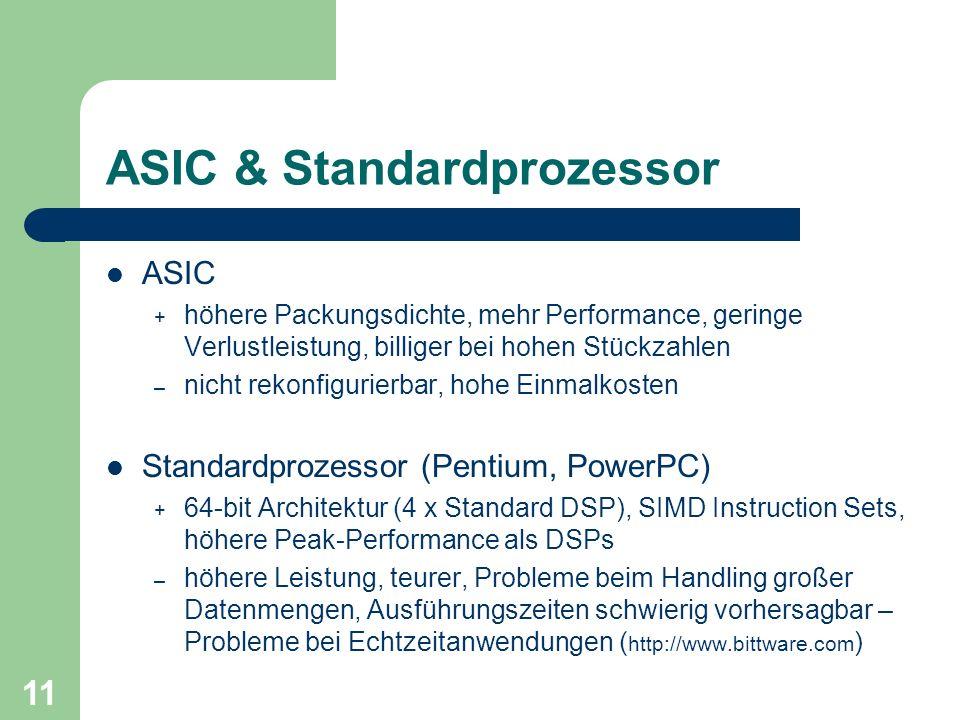 11 ASIC & Standardprozessor ASIC + höhere Packungsdichte, mehr Performance, geringe Verlustleistung, billiger bei hohen Stückzahlen – nicht rekonfigurierbar, hohe Einmalkosten Standardprozessor (Pentium, PowerPC) + 64-bit Architektur (4 x Standard DSP), SIMD Instruction Sets, höhere Peak-Performance als DSPs – höhere Leistung, teurer, Probleme beim Handling großer Datenmengen, Ausführungszeiten schwierig vorhersagbar – Probleme bei Echtzeitanwendungen ( http://www.bittware.com )