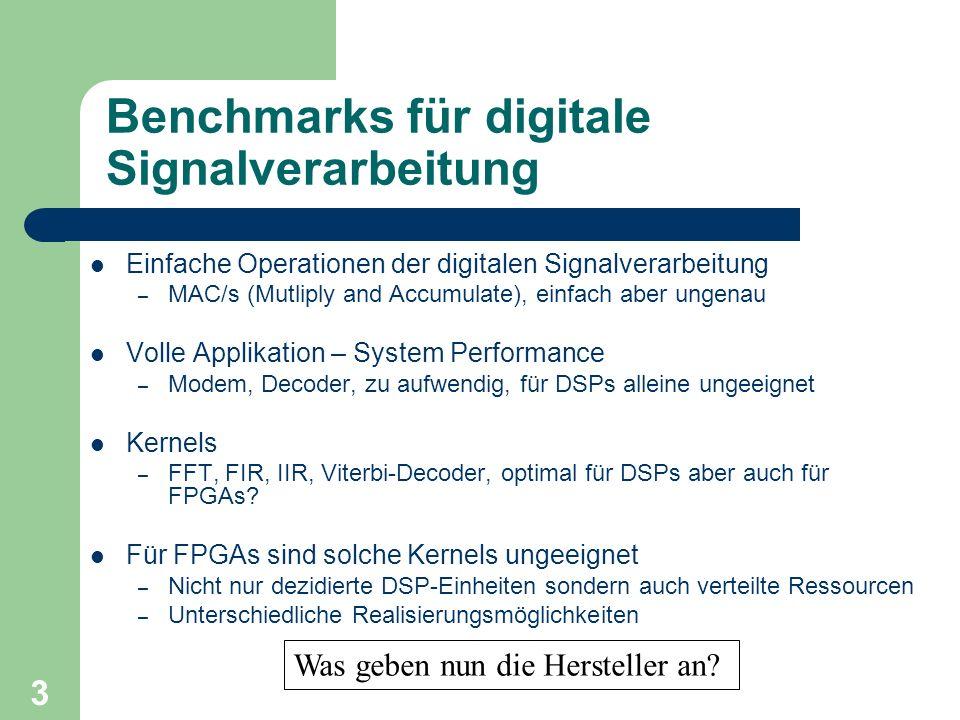 3 Benchmarks für digitale Signalverarbeitung Einfache Operationen der digitalen Signalverarbeitung – MAC/s (Mutliply and Accumulate), einfach aber ung