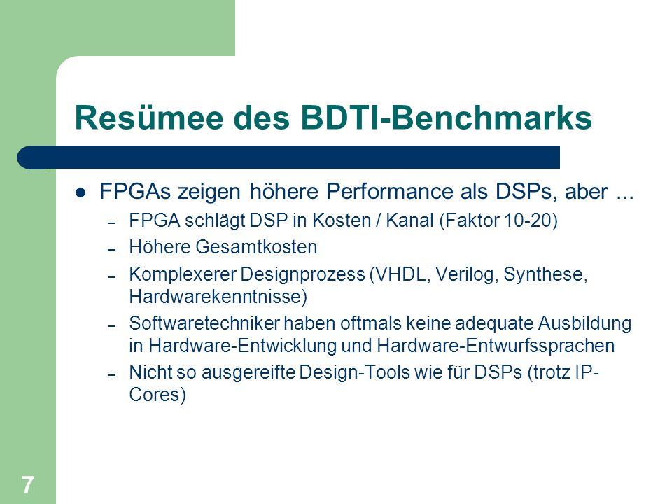 7 Resümee des BDTI-Benchmarks FPGAs zeigen höhere Performance als DSPs, aber... – FPGA schlägt DSP in Kosten / Kanal (Faktor 10-20) – Höhere Gesamtkos