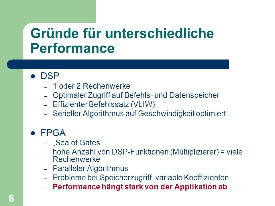 8 Gründe für unterschiedliche Performance DSP – 1 oder 2 Rechenwerke – Optimaler Zugriff auf Befehls- und Datenspeicher – Effizienter Befehlssatz (VLIW) – Serieller Algorithmus auf Geschwindigkeit optimiert FPGA – Sea of Gates – hohe Anzahl von DSP-Funktionen (Multiplizierer) = viele Rechenwerke – Paralleler Algorithmus – Probleme bei Speicherzugriff, variable Koeffizienten – Performance hängt stark von der Applikation ab