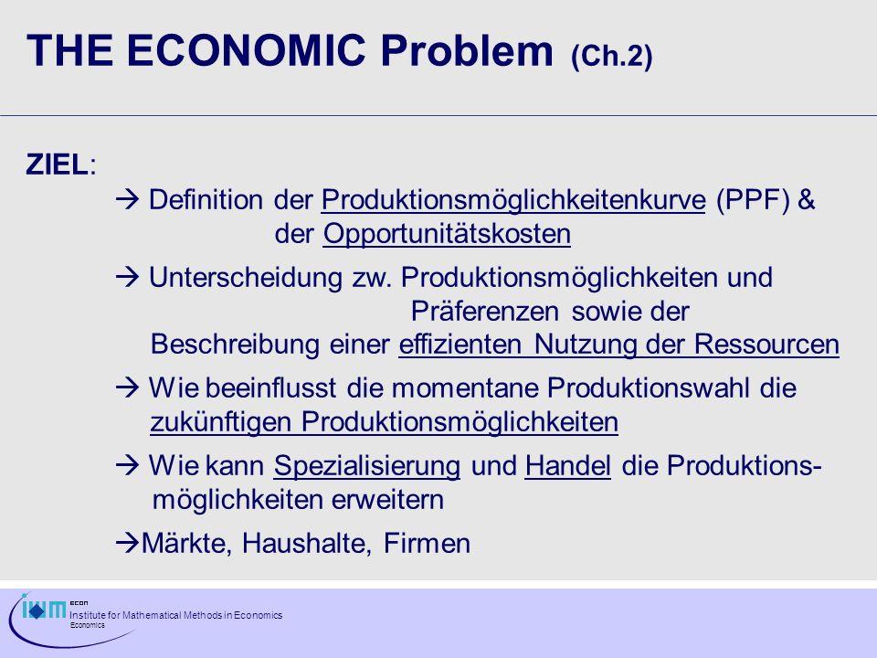 Institute for Mathematical Methods in Economics Economics THE ECONOMIC Problem (Ch.2) ZIEL: Definition der Produktionsmöglichkeitenkurve (PPF) & der O