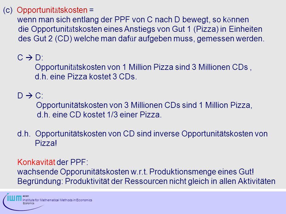 Institute for Mathematical Methods in Economics Economics (c) Opportunit ä tskosten = wenn man sich entlang der PPF von C nach D bewegt, so k ö nnen d