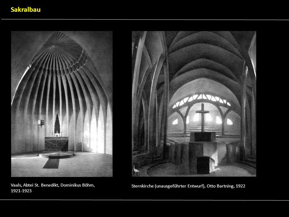 Vaals, Abtei St. Benedikt, Dominikus Böhm, 1921-1923 Sternkirche (unausgeführter Entwurf), Otto Bartning, 1922 Sakralbau