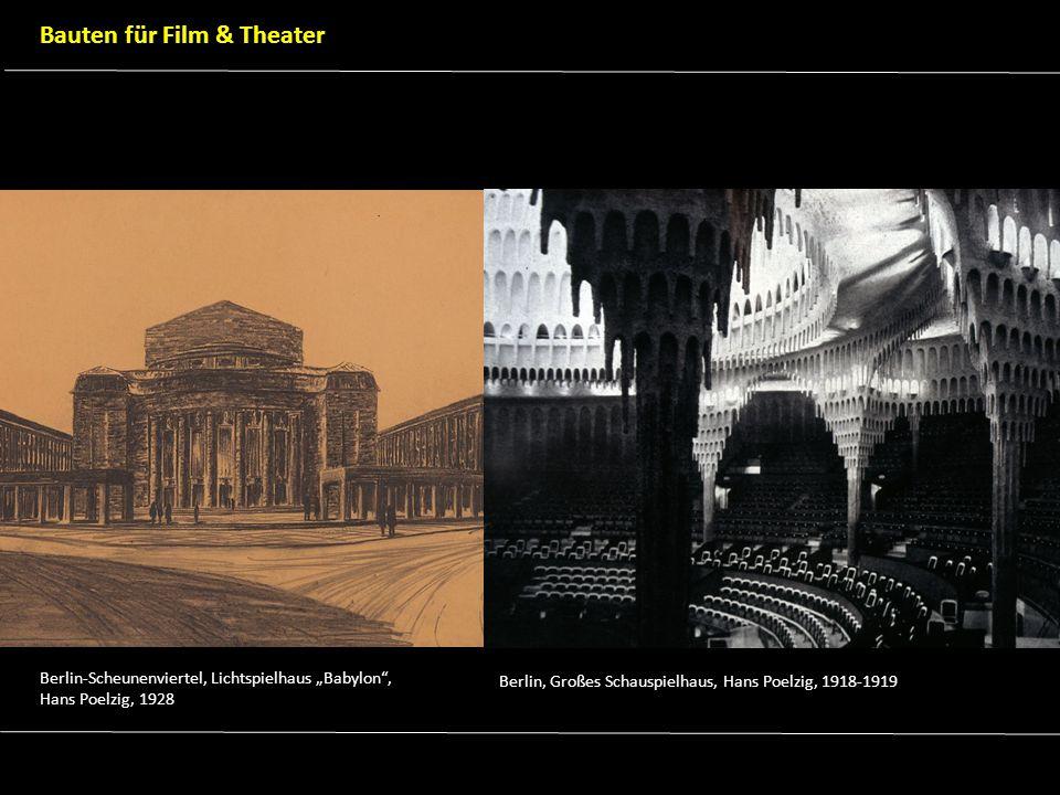 Szenenbild aus Sodom und Gomorrha, Michael Curtiz, 1922 (Architektur Julius von Borsody) Entwurfszeichnung für Filmarchitektur von Metropolis, Fritz Lang, 1926 (Architektur Erich Kettelhut) Filmarchitektur