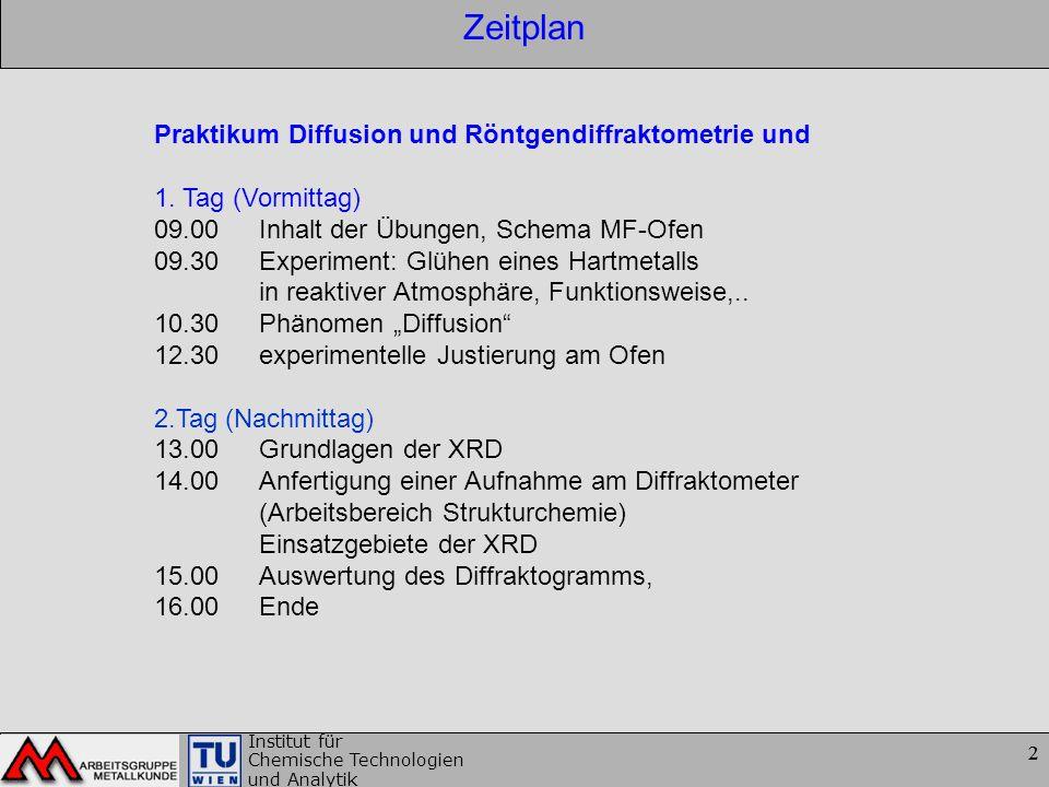 2 Institut für Chemische Technologien und Analytik 2 Zeitplan Praktikum Diffusion und Röntgendiffraktometrie und 1. Tag (Vormittag) 09.00 Inhalt der Ü
