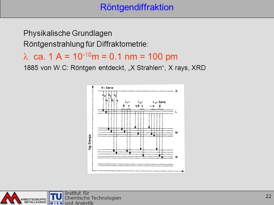 22 Institut für Chemische Technologien und Analytik 22 Röntgendiffraktion Physikalische Grundlagen Röntgenstrahlung für Diffraktometrie : ca. 1 A = 10