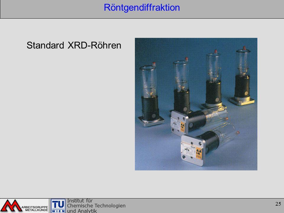 25 Institut für Chemische Technologien und Analytik 25 Röntgendiffraktion Standard XRD-Röhren