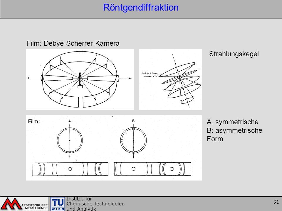 31 Institut für Chemische Technologien und Analytik 31 Röntgendiffraktion Film: Debye-Scherrer-Kamera Strahlungskegel A. symmetrische B: asymmetrische