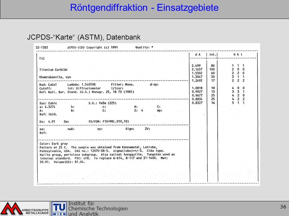 36 Institut für Chemische Technologien und Analytik 36 Röntgendiffraktion - Einsatzgebiete JCPDS-Karte (ASTM), Datenbank