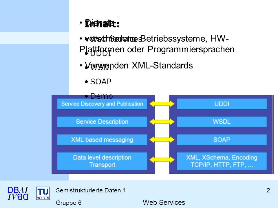 Semistrukturierte Daten 12 Gruppe 6 Web Services Dienste verschiedene Betriebssysteme, HW- Plattformen oder Programmiersprachen Verwenden XML-Standard